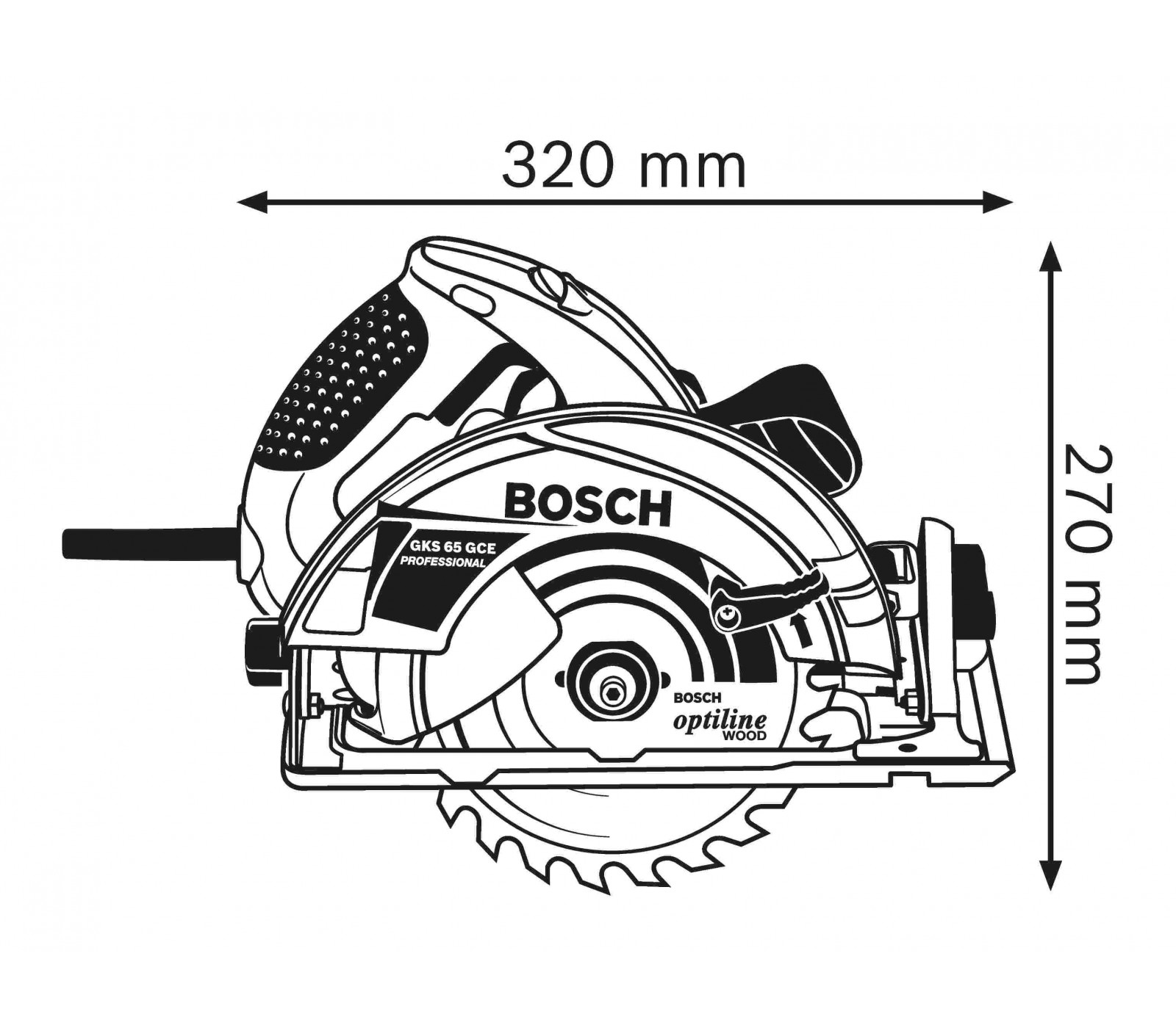 Hand Held Circular Saw Bosch Gks 65 Gce 190 Mm 1800 W Carrying Case L Boxx 238